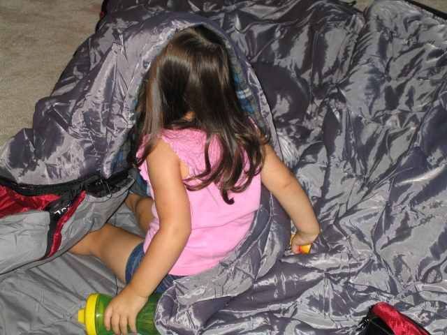 Looking for her way out or in of the sleeping bag...